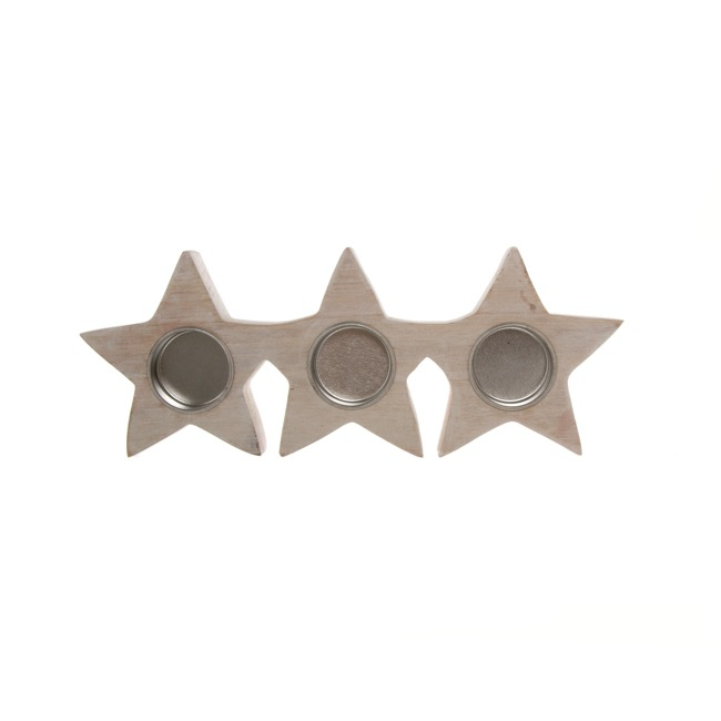 Star Tealight Holder Natural (17.5x11x2.5cmH)