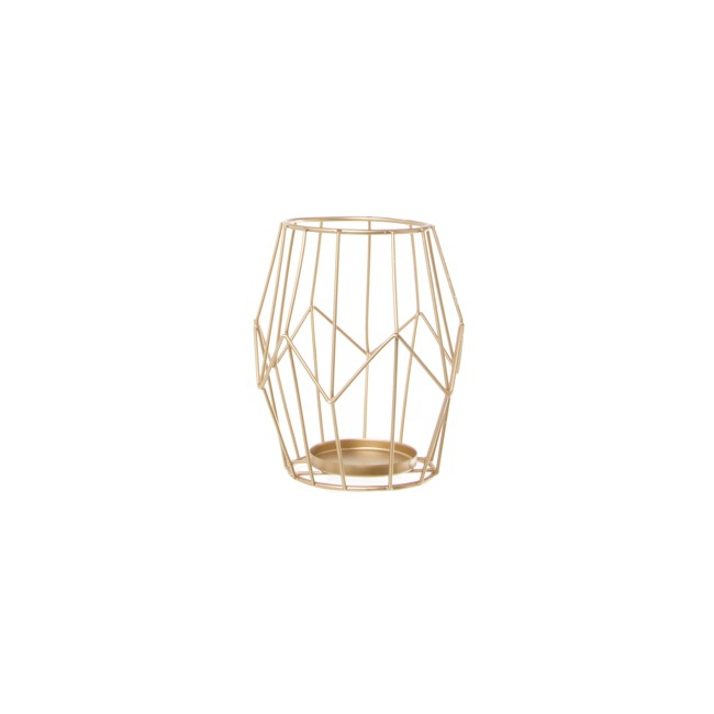 Geometric Metal Candle Holder Gold (11.5x14cmH)