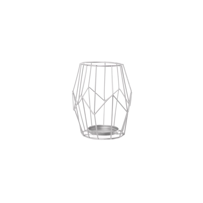 Geometric Metal Candle Holder Silver (11.5x14cmH)