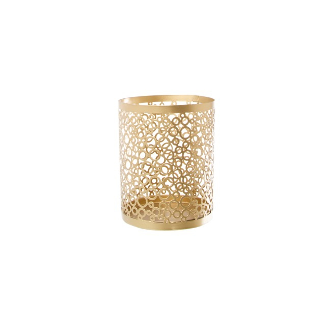 Lace Metal Candle Holder Gold (11x14cmH)
