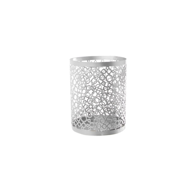 Lace Metal Candle Holder Silver (11x14cmH)