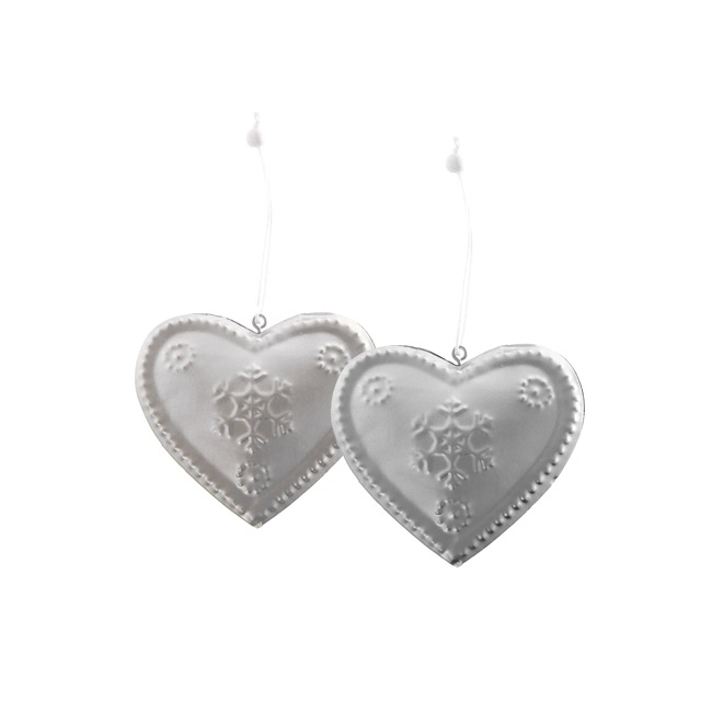 Metal Hanging Heart 2 Pack Silver (8.8x8cmH)