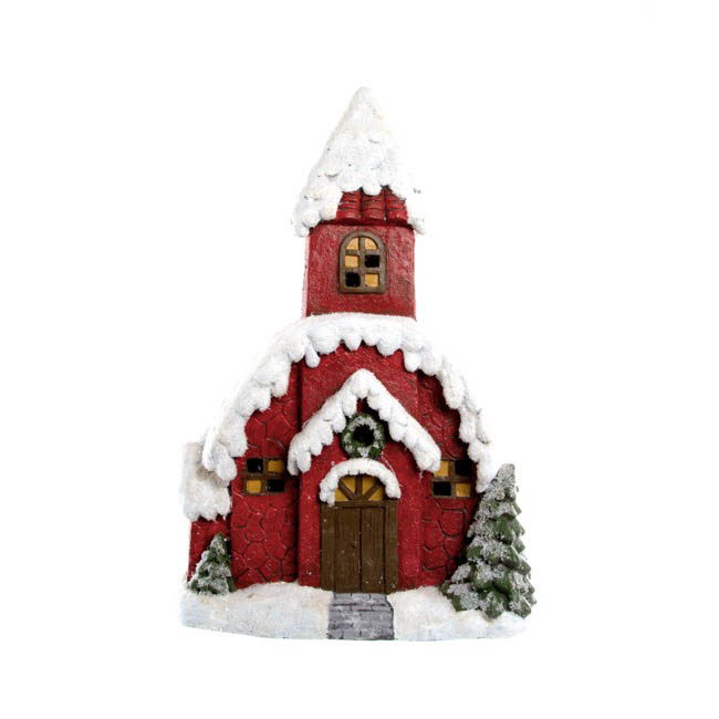 Christmas House Music Box with LED Red (35.7x51.8cmH)