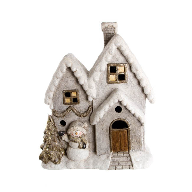 Christmas House Music Box with LED Beige (38x46cmH)