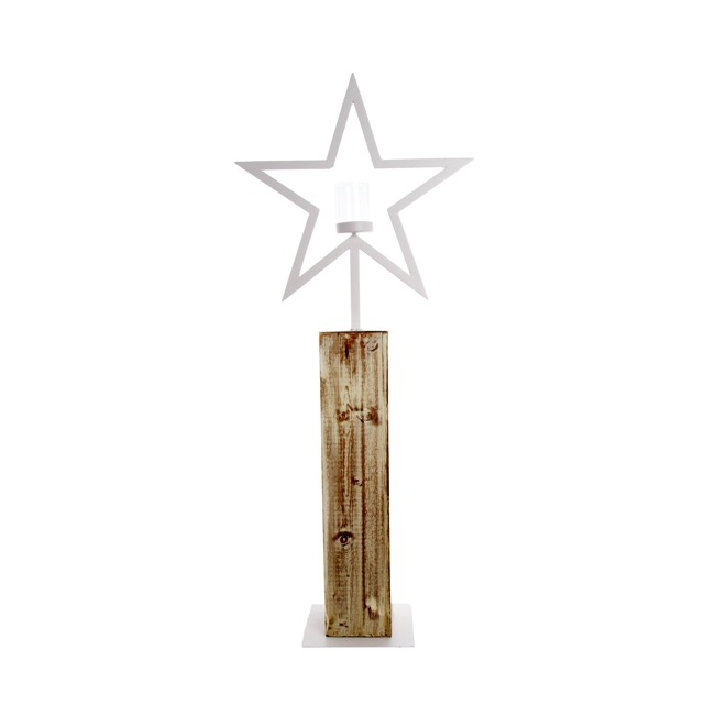 Metal Star Candle Holder White (90cmH)