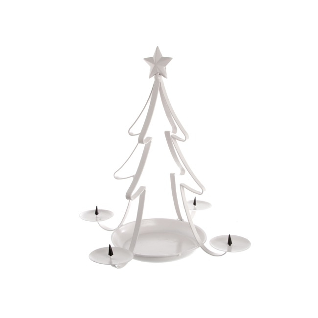 Metal Christmas Tree Candle Holder White (30.5x40cmH)