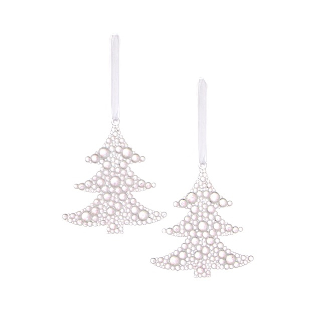 Hanging Tree Decoration 2 Pack Clear (9.5cmH)