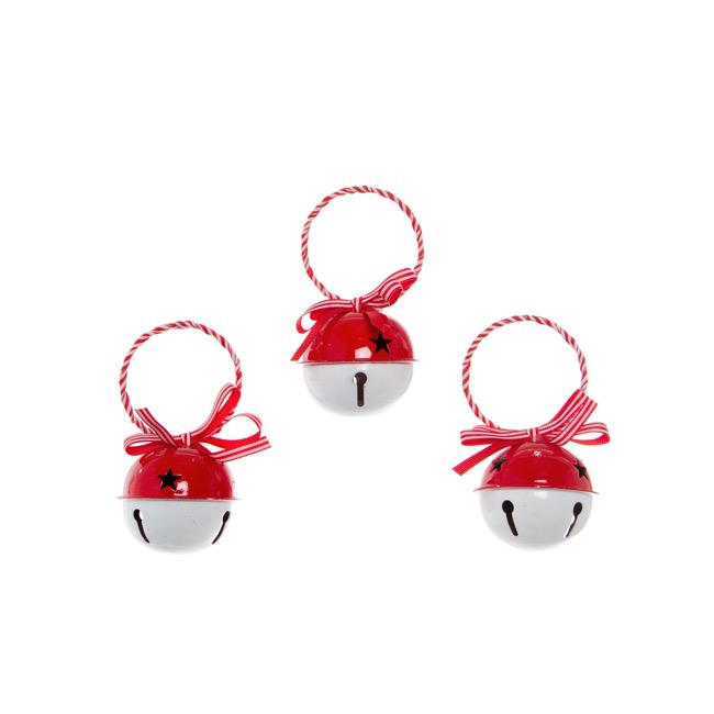 Hanging Noel Bell Decoration 3 Pack White Red (6cmD)
