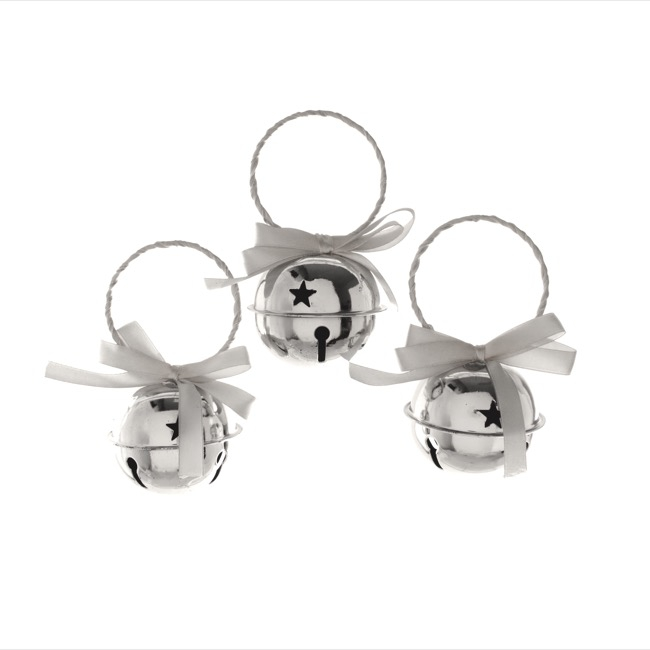 Hanging Noel Bell Decoration 3 Pack Silver (6cmD)