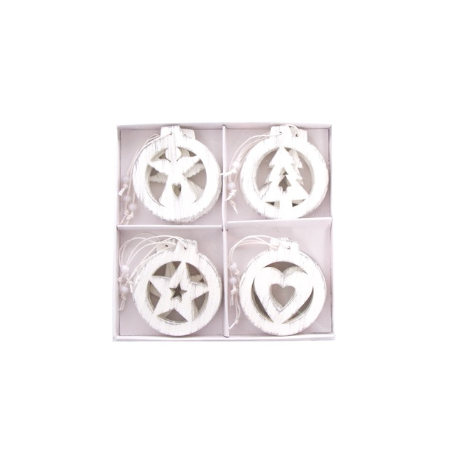 Hanging Wooden Decoration Assorted 12 Pack White (7x7.5cmH)