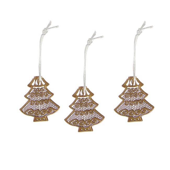 Hanging Metal Lace Tree 3 Pack Gold (6cmH)