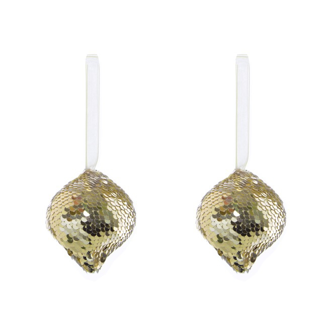 Glitz Hanging Bauble 2 Pack Champagne Gold (8cmH)
