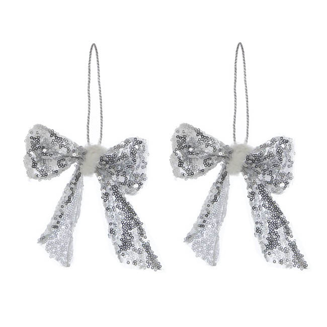 Glamour Hanging Bow 2 Pack Silver (12cmH)