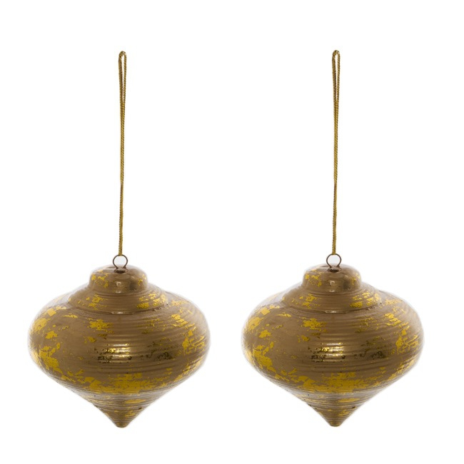 Christmas Tree Decorations - Hanging Ceramic Bauble Teardrop Set 2 Gold (7cmx8cmH)
