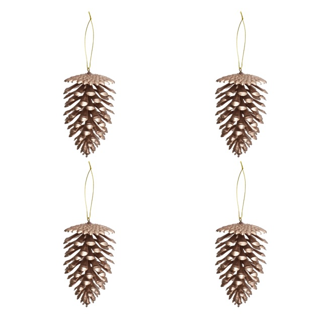 Christmas Tree Decorations - Artificial Pine Cone PVC Rose Gold (7x11cmH) Pack 4