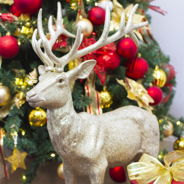 Christmas Ornaments - Giant Glitter Reindeer Standing Champagne Gold (76cmH)