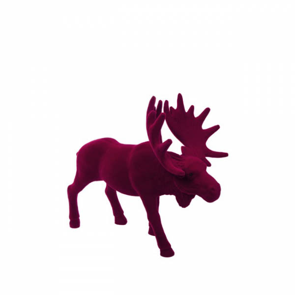 Christmas Ornaments - Flocked Moose Standing Red (37cmH)