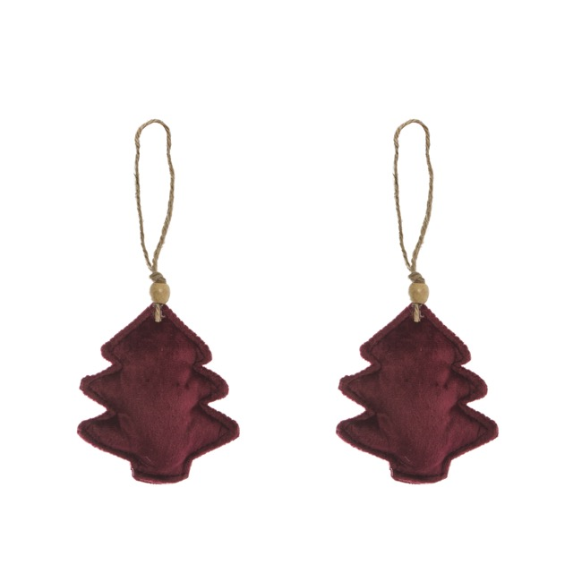 Christmas Tree Decorations - Velvet Hanging Christmas Tree Pack 2 Red (10cm)