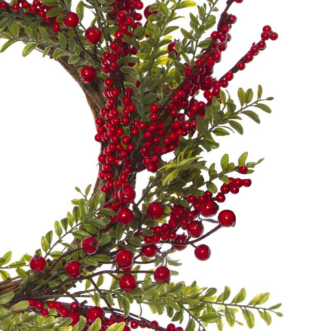 Christmas Wreath - Fresh Berry with Green Leaves Wreath (60cm)