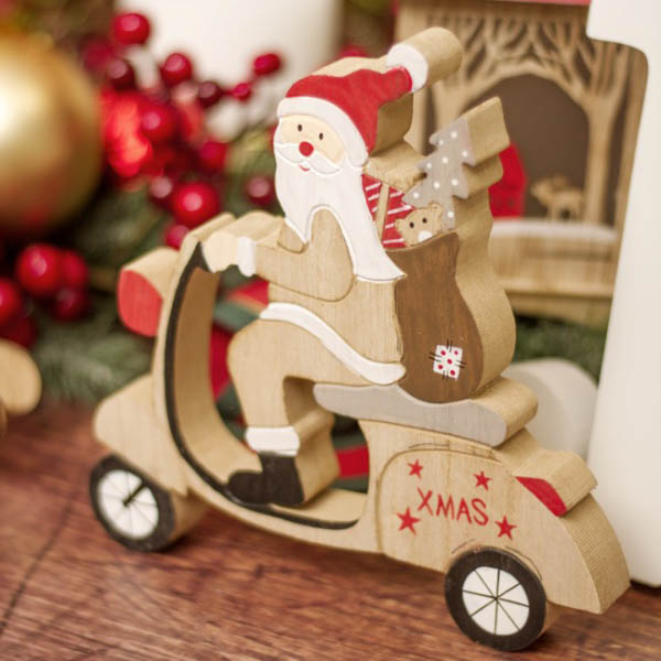 Christmas Ornaments - Wooden Table Decoration Santa Ride on Scooter (20x20cm)
