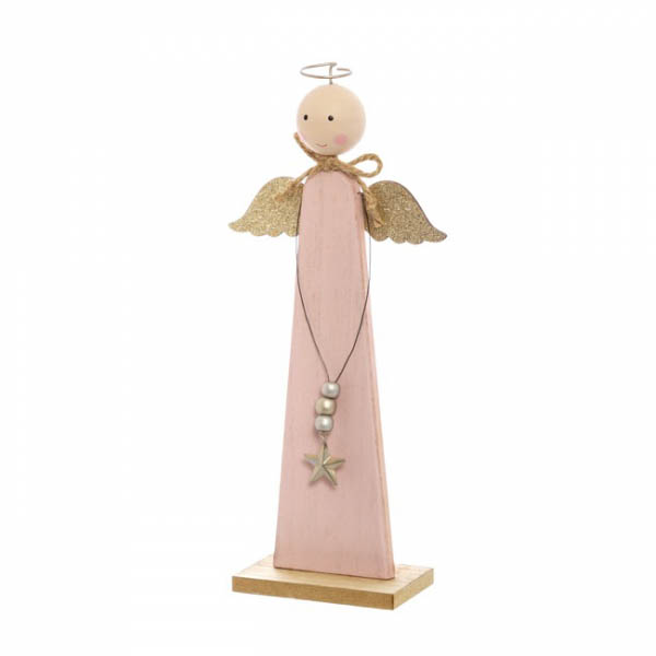 Christmas Ornaments - Wooden Angel Decoration Pink (13x30cm)