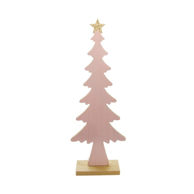 Christmas Ornaments - Wooden Christmas Tree Table Decoration Glitter Pink (31cm)