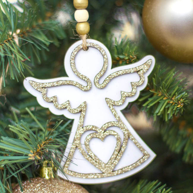 Christmas Tree Decorations - Wooden Hanging Angel Glitter Gold Pack 2 (10cm)