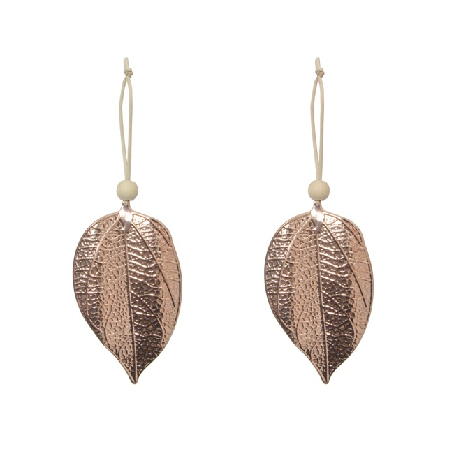 Christmas Tree Decorations - Hanging Metallic Leaf Pack 2 Rose Gold (8x14cm)