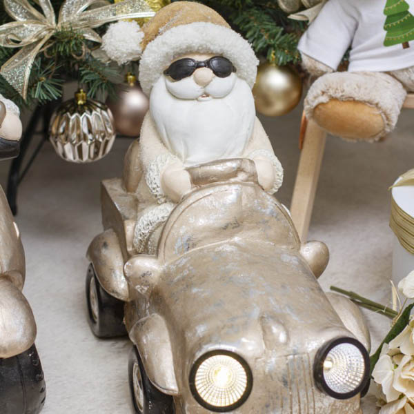 Christmas Ornaments - Santa Driving Car Decoration LED Gold (43x36cm)