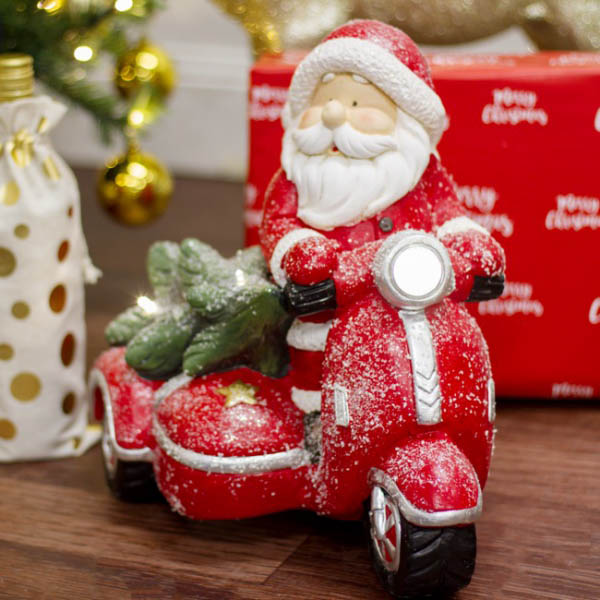 Christmas Ornaments - Santa Driving Sidecar with Tree LED Decoration Red (35.5cm)