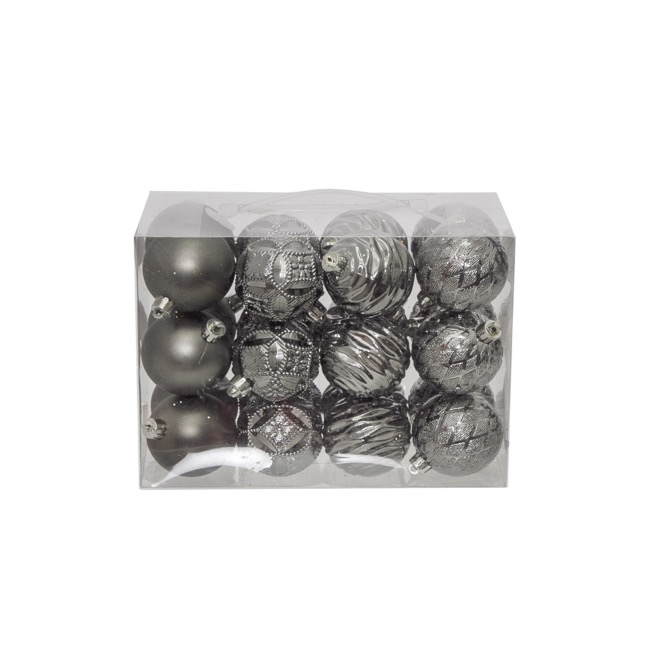 Christmas Baubles - Hanging Christmas Bauble Pewter (6cm) Pack 24