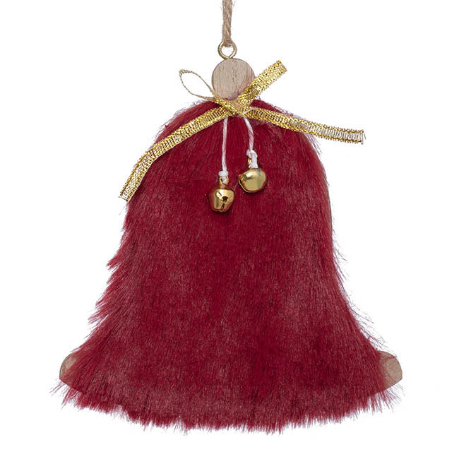 Christmas Tree Decorations - Hanging Bell Decoration with Faux Fur Pack 2 Red (11cmH)