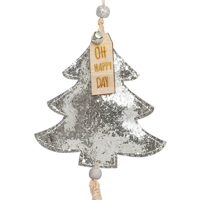 Christmas Tree Decorations - Hanging Christmas Tree with Jute Tassel Pack 2 Silver (8cmH)