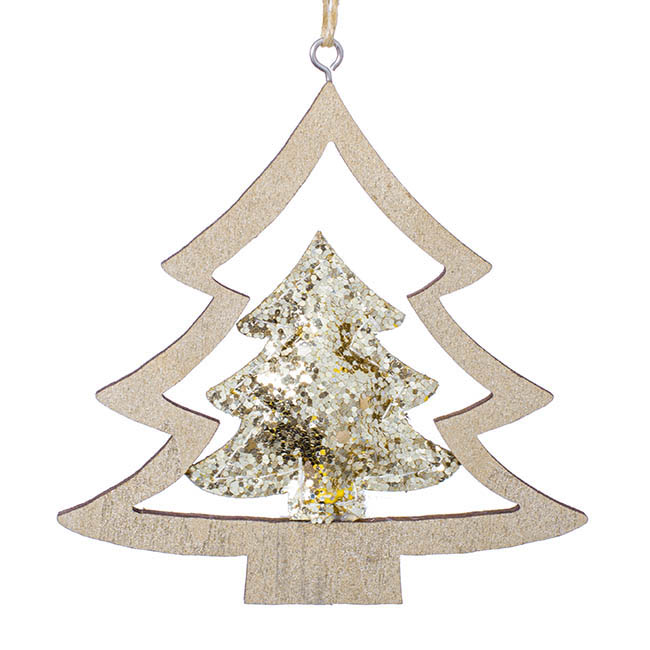 Hanging Christmas Tree Pack 2 Gold (10cmH)