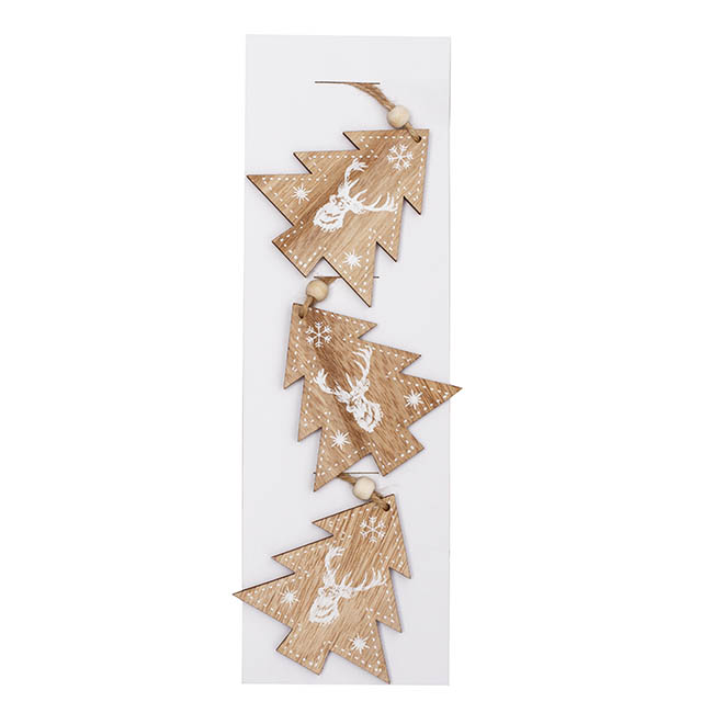 Christmas Tree Decorations - Wooden Hanging Christmas Tree Pack 3 Natural (8.8x8.2x0.5cm)