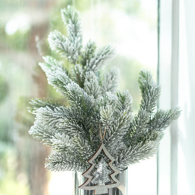 Christmas Flowers - Snowy Canadian Pine Spray Real Touch White (65cmH)