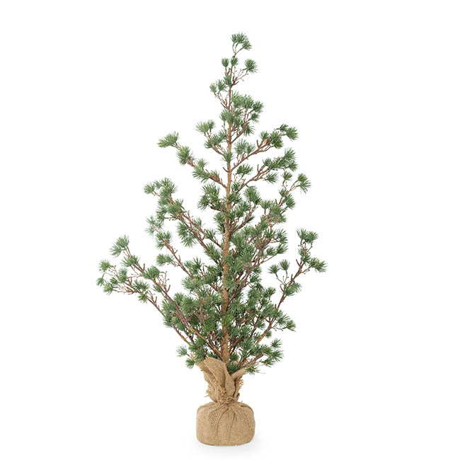 Artificial Christmas Trees - Cedar Pine Burlap Wrapped Real Touch Green (90cmH)