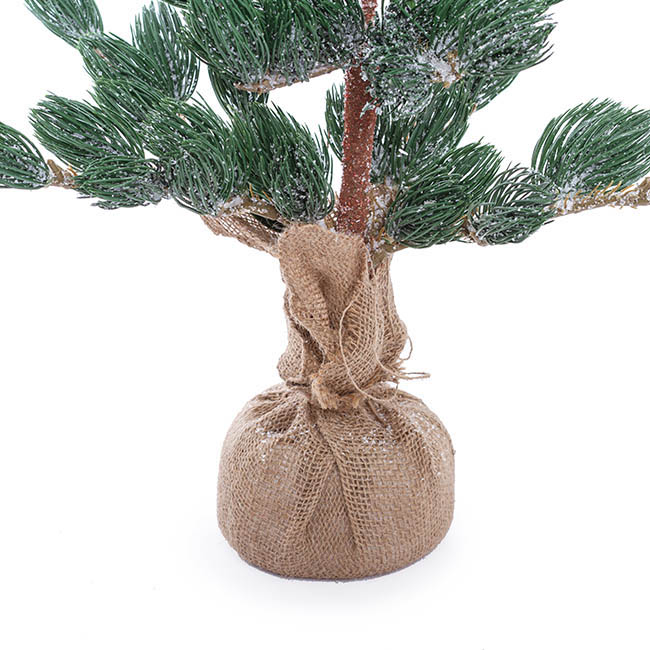 Artificial Christmas Trees - Frosted Pine Burlap Wrapped Real Touch Grey (70cmH)