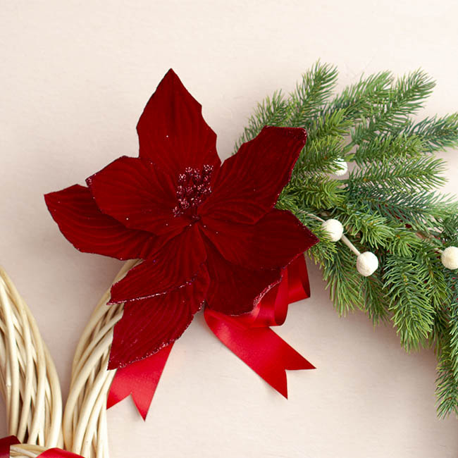 Christmas Flowers - Poinsettia Stem Velvet Burgundy (40cmH)