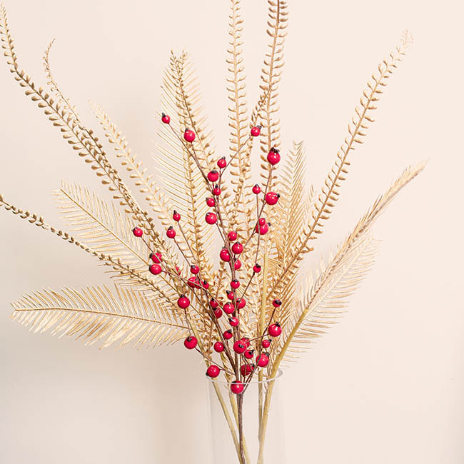 Christmas Flowers - Seasonal Red Berry Spray Red (70cmH)