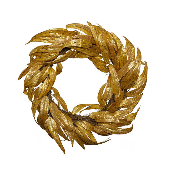 Christmas Wreath - Eucalyptus Willow Leaf Wreath Glitter Copper (58cmD)
