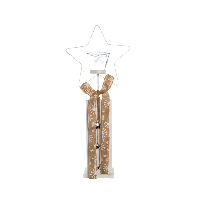 Jute Candle Holder with Stars Natural (10x10x62cmH)