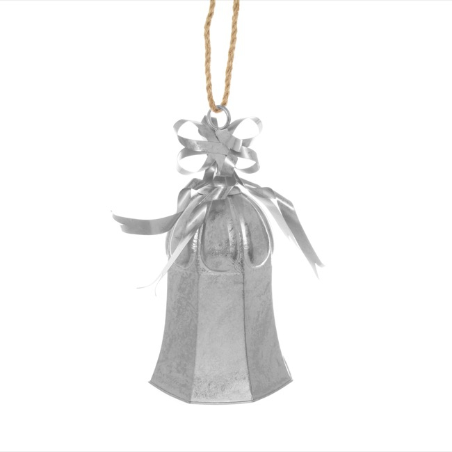Large Metal Bell Decoration Silver (25x25x47cmH)