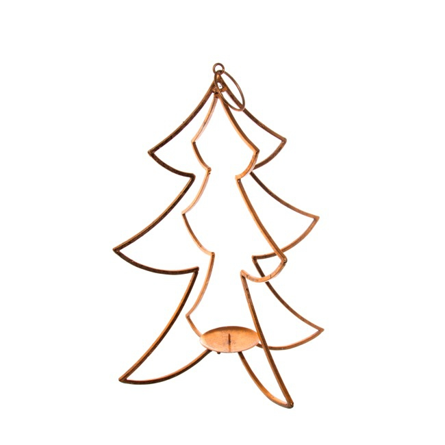 Metal Tree Candle Decoration Copper (24x43.5cmH)