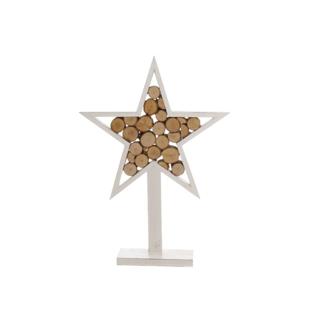 Wooden Star Log Decoration White (27x6x37.5cmH)