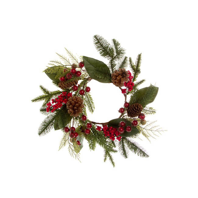 Pomegranate Berry Pine Cone Wreath Red (45cmD)