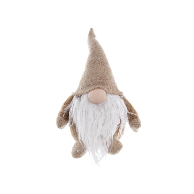 Fabric Santa Gnome Decoration Natural (27cmH)