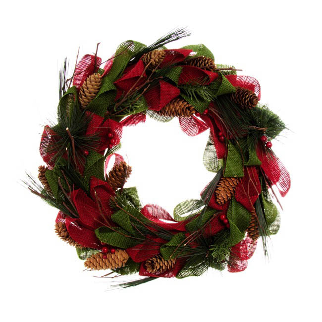 Natural Burlap Wreath Red (34cm)