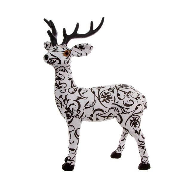Filigree Paper Reindeer Decoration White and Black (35cm)