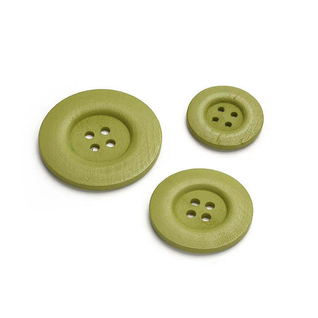 Button Decorations 6 Pack Green (Mixed Sizes)